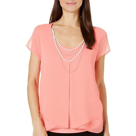 NY Collection Womens Necklace & Solid Pleat Top
