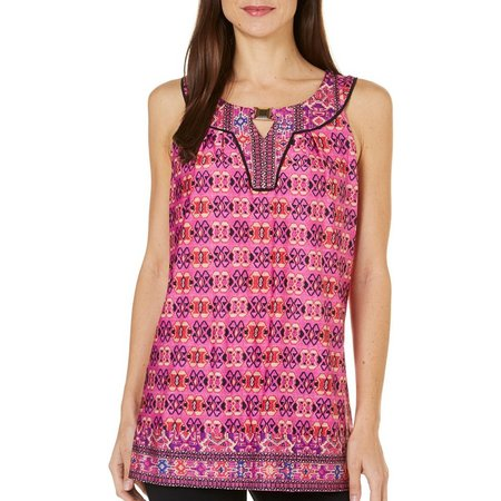 NY Collection Womens Cleo Printed Keyhole Top