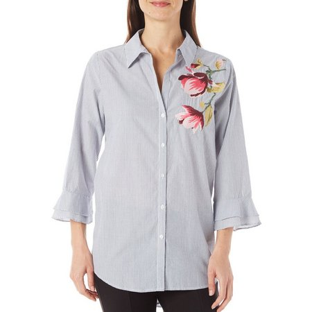 Melissa Paige Womens Floral Stripe Button Up Shirt