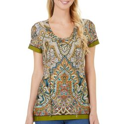 Melissa Paige Womens Printed Lace Up Neckline Top