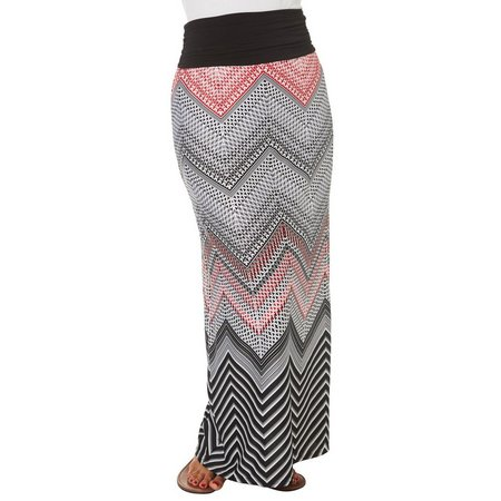 AGB Womens Ruched Chevron Print Maxi Skirt