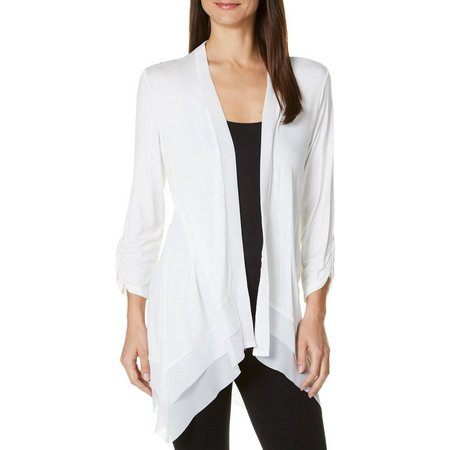 AGB Womens Layered Chiffon Trim Solid Cardigan
