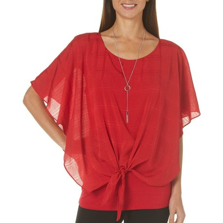 AGB Womens Necklace & Tie Front Top