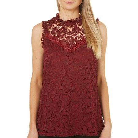 AGB Womens High Neck Floral Lace Sleeveless Top