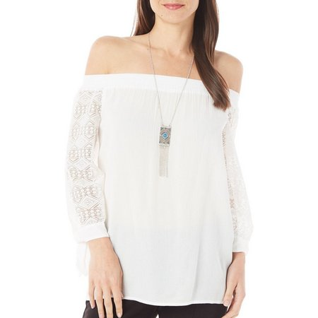 AGB Womens Lace Tie Sleeve Off Shoulder Top