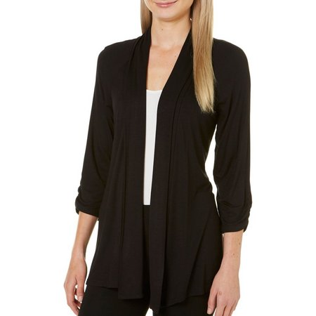 AGB Womens Ruched Sleeve Drape Front Cardigan