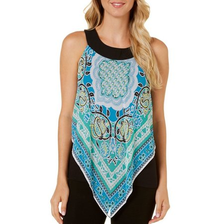 AGB Womens Paisley Scarf Print Top