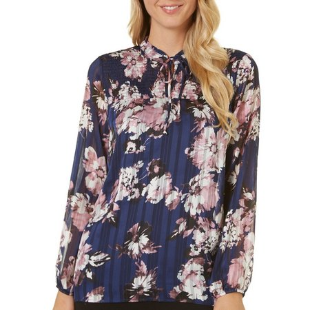 AGB Womens Long Sleeve Floral Tie Neck Top