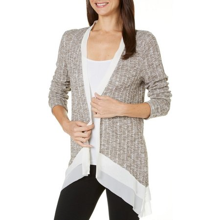 AGB Womens Marled Knit Chiffon Trim Cardigan