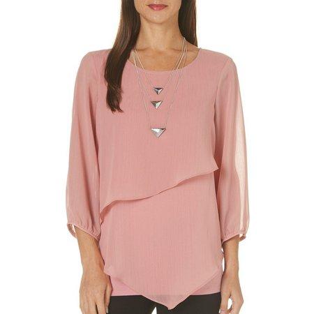 AGB Womens Neckalace & Asymmetrical Overlay Top