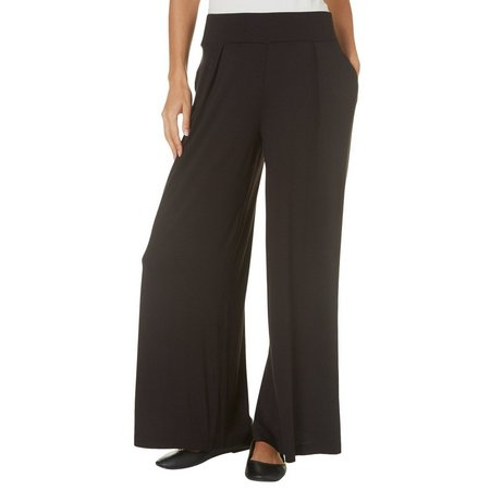 AGB Womens Solid Pleat Front Palazo Pants