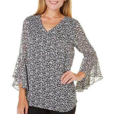 AGB Womens Splatter Print Bell Sleeve Top