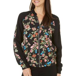 AGB Womens Floral Zip Front Bomber Jacket