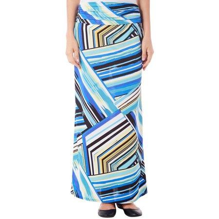 AGB Womens Stripe Print Ruched Waist Maxi Skirt