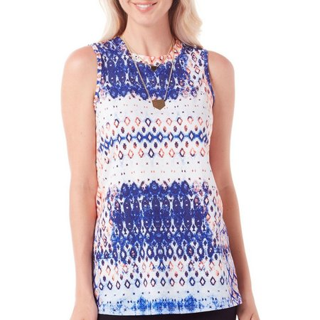 AGB Womens Necklace & Ikat Print Tank Top