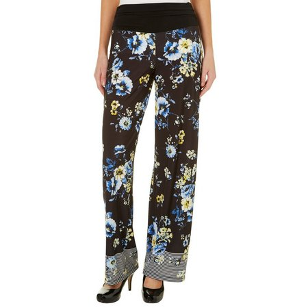 AGB Womens Floral & Stripe Print Palazzo Pants