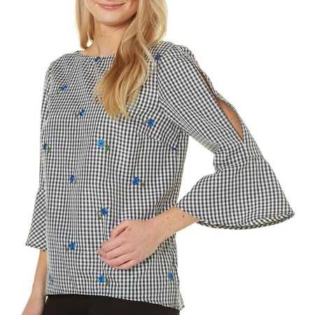 AGB Womens Gingham Floral Embroidered Top