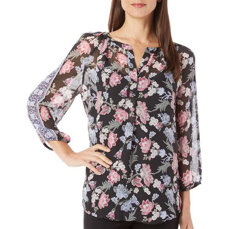 AGB Womens Sheer Floral Split Neck Top