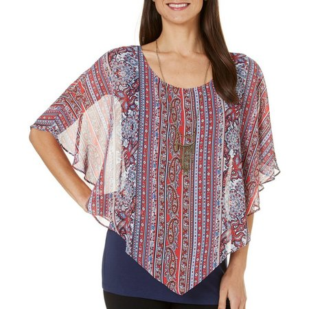 AGB Womens Floral Printed Overlay Top