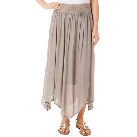 New! AGB Womens Solid Handerchief Crochet Waist Skirt