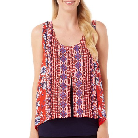 New! AGB Womens Floral Medallion Overlay Tank Top