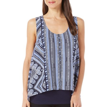 AGB Womens Striped Print Overlay Top
