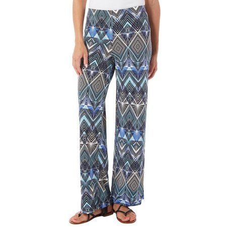 AGB Womens Solid Pull On Chevron Palazzo Pants