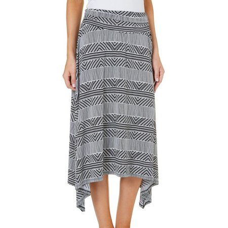 AGB Womens Stripe Sharkbite Hem Midi Skirt