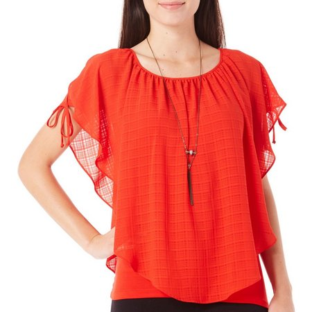 AGB Womens Necklace & Windowpane Overlay Top
