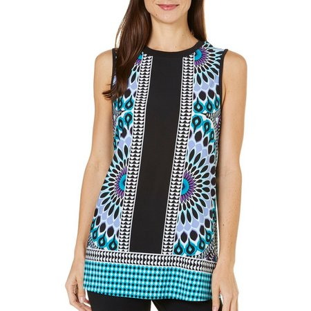 AGB Womens Border Print Mix Tunic Tank Top