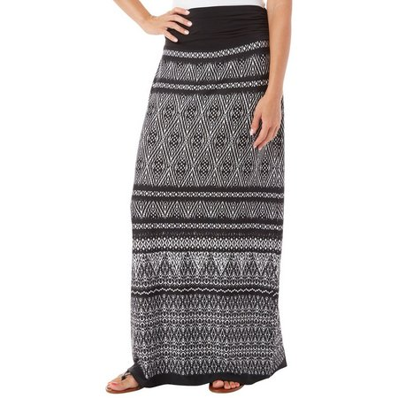 AGB Womens Ikat PrintPull On Maxi Skirt