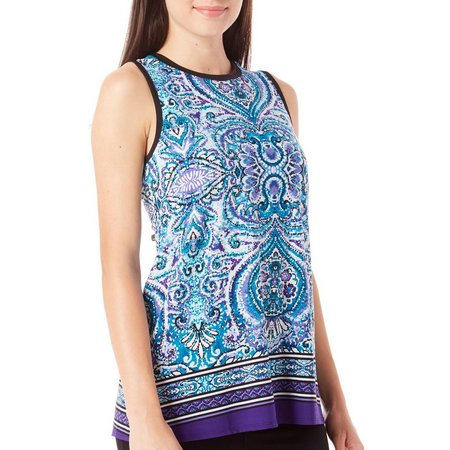 AGB Womens Damask Print High Neck Tank Top