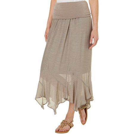 AGB Womens Solid Gauze Asymmetrical Hem Skirt