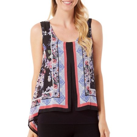 AGB Womens Floral Damask Overlay Tank Top