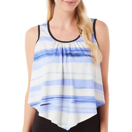AGB Womens Brushstroke Stripe Overlay Tank Top