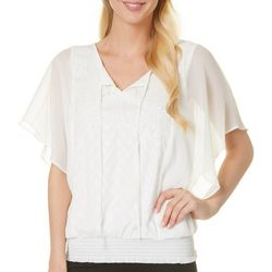 AGB Womens Lace Trim Smocked Waist Overlay Top