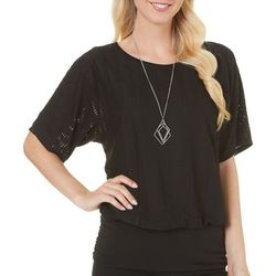AGB Womens Textured Banded Bottom Short Sleeve Top