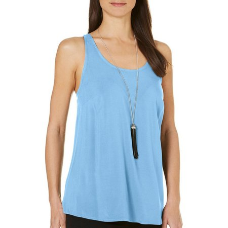 AGB Womens Necklace & Solid Scoop Tank Top