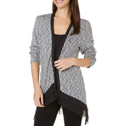 New! AGB Womens Double Layer Chiffon Trim Cardigan