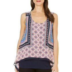 New! AGB Womens Medallion Printed Overlay Tank Top