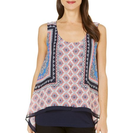 AGB Womens Medallion Printed Overlay Tank Top