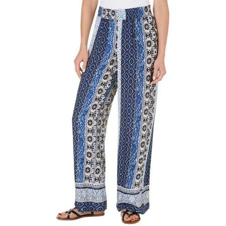 AGB Womens Geo Stripe Print Smocked Waist Pants