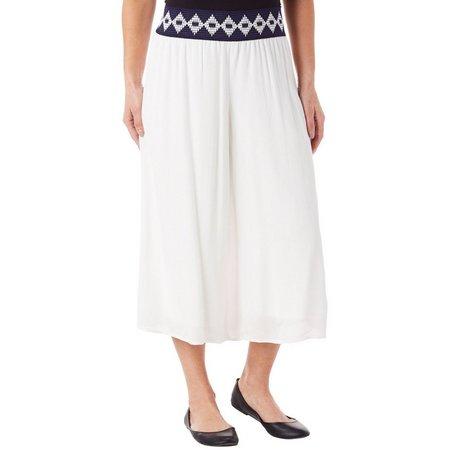 AGB Womens Printed Waistband Gaucho Pants