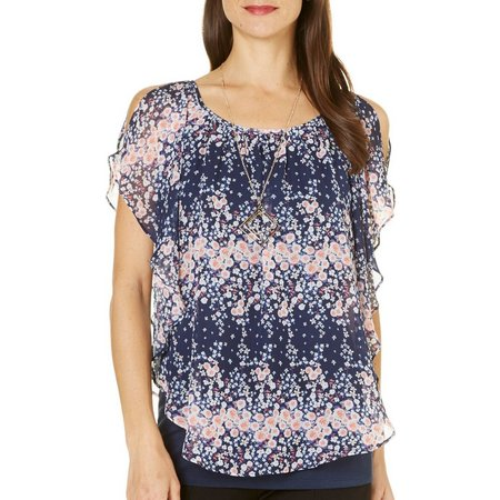AGB Womens Necklace & Floral Popover Top