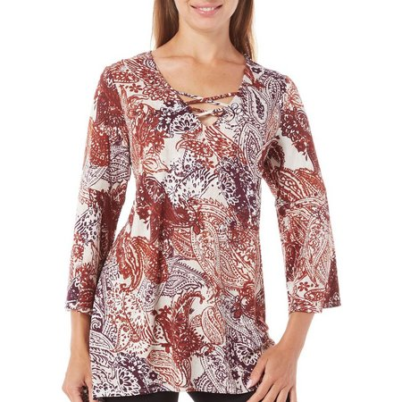 AGB Womens Paisley Print V-Neck Tunic Top