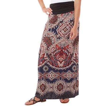 AGB Womens Paisley Printed Banded Waist Maxi Skirt