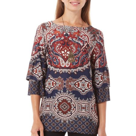 AGB Womens Necklace & Paisley Bell Sleeve Top