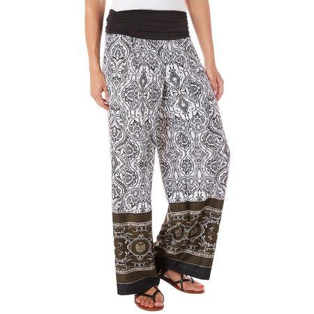 AGB Womens Damask Print Soft Pull On Pants