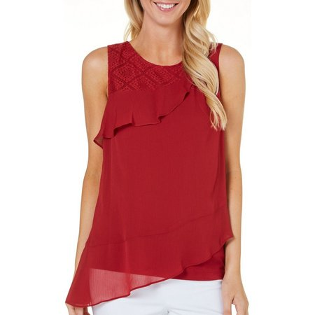AGB Womens Ruffle Front Asymmetrical Top