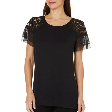 AGB Womens Crochet Lace Tulle Sleeve Top